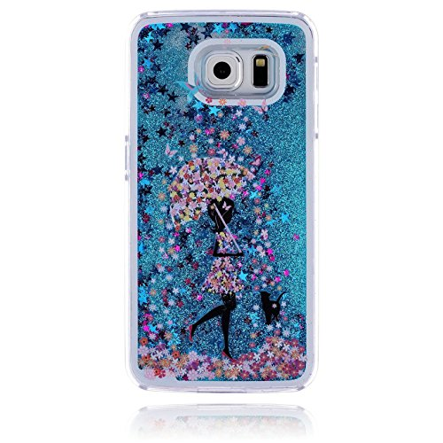 Galaxy S4 Case,Colored Drawing Angel Girl Polar Bear Dolphin Penguin Dandelion Print Floating Bling Glitter Sparkle Liquid Moving Stars Hard PC Case for Samsung Galaxy S4 i9500 (Umbrella Girl)