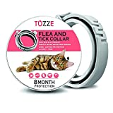 TUZZE Flea and Tick Collar for Cats - 8 Months Continuous Flea Protection for Cats - Waterproof and 100% Natural Essential Oil Extract Cat Flea Collar - Safe Flea Treatment [2019 Upgrad