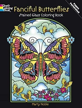 fanciful butterflies stained glass coloring book dover nature stained glass coloring book - Stained Glass Coloring Book