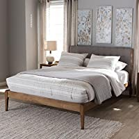 Baxton Studio Clifford Fabric King Size Platform Bed in Light Grey and Walnut Brown