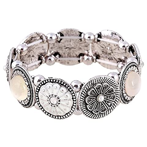 D EXCEED Handmade Etched Stretch Enamel Flower Crystal Rhinestone Silver Bracelet - Floral Etched Crystal