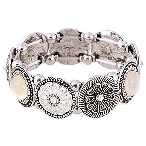 D EXCEED Handmade Etched Stretch Enamel Flower Crystal Rhinestone Silver Bracelet