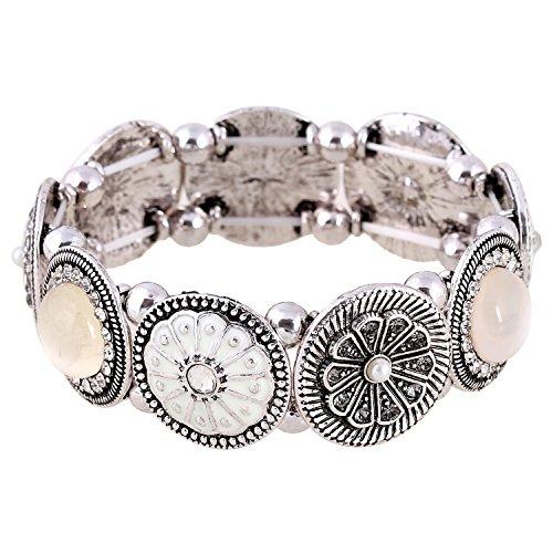 D EXCEED Handmade Etched Stretch Enamel Flower Crystal Rhinestone Silver (Enamel Crystal Stretch Bracelet)