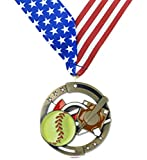 Gold-Softball-M3XL-Premium-Die-Cast-Color-Medal-275-Inches-Wide-Includes-Decade-Awards-Exclusive-Red-White-Blue-Stars-and-Stripes-V-neck-Ribbon-Neckband