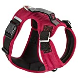 Gooby - Pioneer Dog Harness, Small Dog Head-in Harness with Control Handle and Seat Belt Restrain Captability, Red, Large