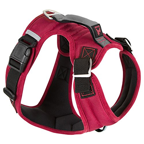 Gooby Pioneer Dog Harness with Control Handle & Seat Belt Restrain Capability Red, X-Large - Quick Control Harness