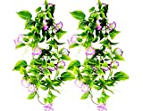 AyFashion Artificial Morning Glory Flower Vines, 2pcs 15Feet Hanging Plants Silk Garland Fake Green Plant Home Garden Wall Fence Indoor Outdoor Wedding Birthday Decor (Purple)