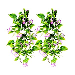 AyFashion Artificial Morning Glory Flower Vines, 2pcs 15Feet Hanging Plants Silk Garland Fake Green Plant Home Garden Wall Fence Indoor Outdoor Wedding Birthday Decor 48