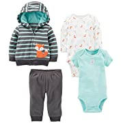 Simple Joys by Carter's Baby Boys' 4-Piece Fleece Jacket Set, Navy/Turquoise Fox, 0-3 Months