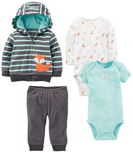 Simple Joys by Carter's Boys' 4-Piece Fleece Jacket Set, Navy/Turquoise Fox, 6-9 Months Jacket Sleepwear