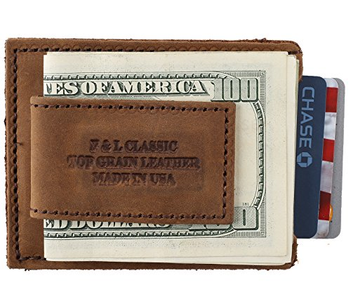 Top Grain crazy horse Leather Money Clip Magnetic Front Pocket Strong Wallet,Made In USA,Brown,mc957pu