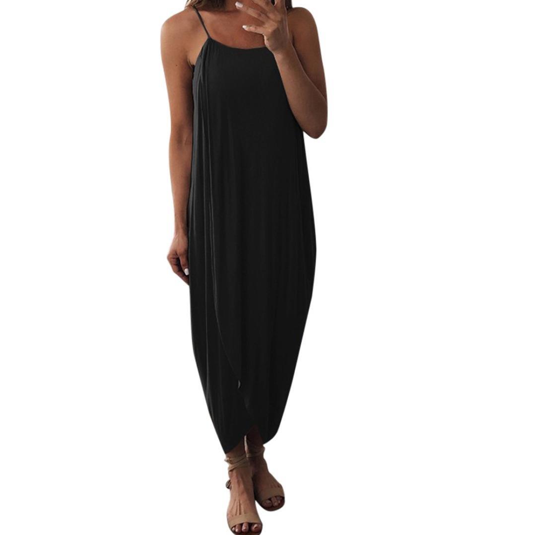 Snowfoller Women Dress Summer Fashion Sling Sexy Dress Casual Loose Straps Elegant Holiday Irregular Split Dress (XL, Black)