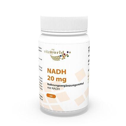 NADH 20mg 60 Cápsulas Vita World Farmacia Alemania - Nicotinamida Adenina Dinucleótido-Hydrid - Energía