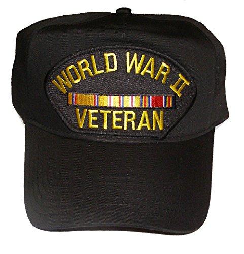 WORLD WAR II Veteran Hat with Asiatic Pacific Ribbons Cap - BLACK - Veteran Owned Business