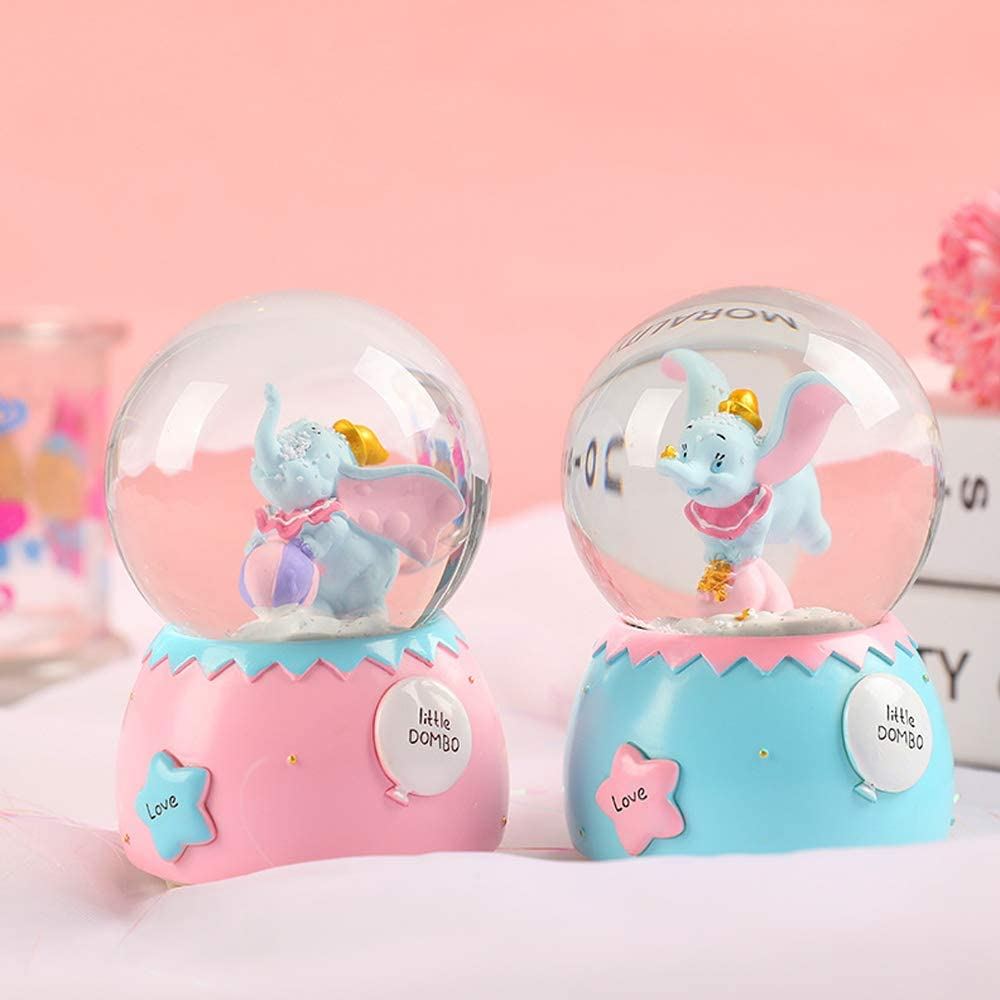 ANVEC 100MM Musical Snowglobes Snow Globes with Automatic Snowfull for Kids Boys Girls,Craft Collection Funny Christmas Birthdays Easter Gifts for Kids,Resin//Glass Blue, Auto Snow
