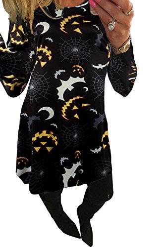 (Clearoy Women's Halloween Pumpkin Spider Skeleton Print Pullover Swing A-Line Dress M)