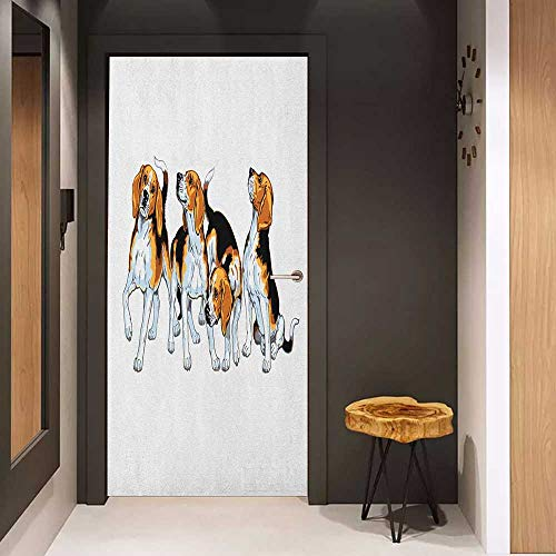 Toilet Door Sticker Beagle Four Beagle Hounds Siblings Playing Foxhound I Love My Dog Breed Theme Glass Film for Home Office W31 x H79 Brown White and Black