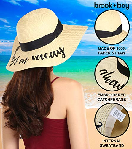 Honeymoon /& Travel Large Brim Embroidered Summer Straw Hat for Vacation Cruises Floppy Beach Sun Hat for Women