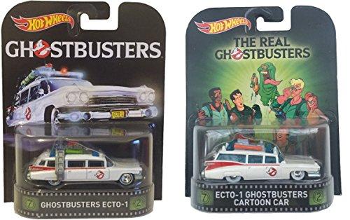 "Hot Wheels Retro Entertainment Ghostbusters 2-Car Set ""Real"" Cartoon Car and Original Ecto-1 Car"