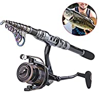 Sougayilang Telescopic Fishing Rod and Fishing Reel Combo Kits Travel Portable Fishing Sets