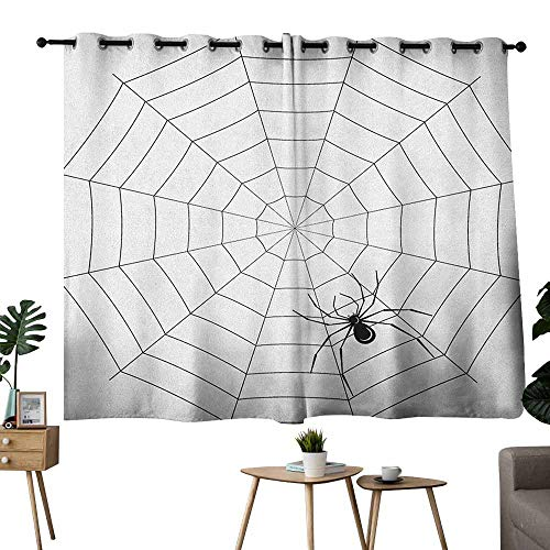 Kids Room Curtains Spider Web Toxic Poisonous Insect Thread Crawly Malicious Bug Halloween Character Design Black White Light Blocking Drapes with Liner W55 xL72 -