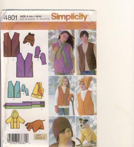 Sewing Fleece Mittens - Simplicity Sewing Pattern 4801 - Use to Make - Fleece Items - Unisex Child's (XS-L), Teens' and Adults' (XS-XL) Vest, Hats, Scarf, Mittens, Dog Coat and Pillow