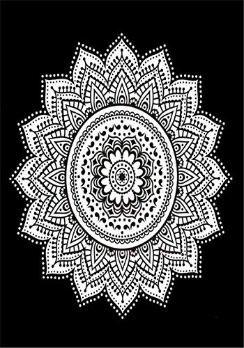 Eve Split Burning Sun Tapestry,Celestial Sun Moon Planet Twin Tapestries, Bohemian Indian Hippie Wall Hanging,Dorms Bedspread printing Cotton Decor Beach Blanket Carpet (mandala black)