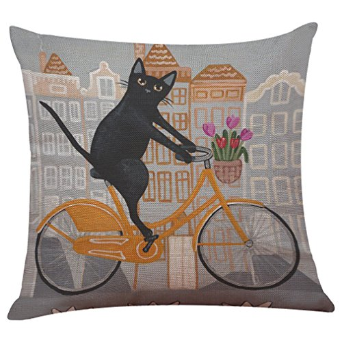 Price comparison product image Challyhope Vivid Cute Cat Sofa Bed Home Decoration Festival Pillow Case Cushion Cover (Multicolor G)