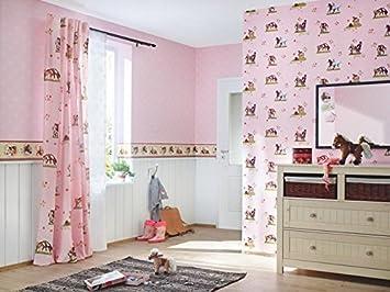 Tapete Kinderzimmer Rosa Weiß Braun Grün Pink Mit Position Pferde 290516  Villa Coppenrath Rasch