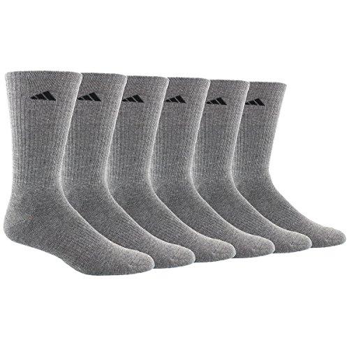 adidas Men's Athletic Crew Socks (6 Pack), Heather Grey/Black, One Size, Shoe Size 6-12 by adidas (Image #1)