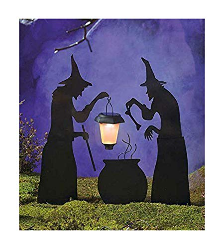 InkNation4Lyfe 3 Piece Witch Stake Cauldron Pot Solar Lighted Lantern Halloween Silhouette Yard ()