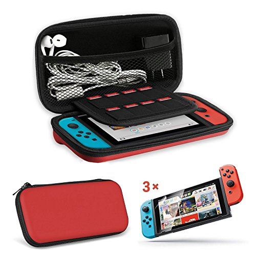 Price comparison product image EEEKit 2in1 Starter Kit for Nintendo Switch Console, Portable Travel Hard Shell Carrying Case, Clear HD Full Coverage Screen Protector Film Guard (2in1 Kit(Red))