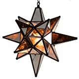 Star of Bethlehem, Moravian Star Pendant, Antique Mirror, Bronze Frame, 12x15