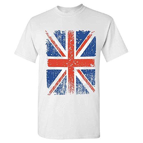 (Distressed British Flag Men's T-shirt Vintage Union Jack UK Flag Tee White Large)