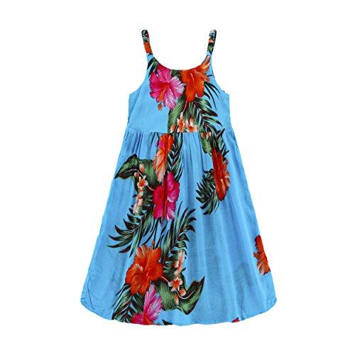 Girl Elastic Strap Empire Hawaiian Luau Dress In Turquoise 2T