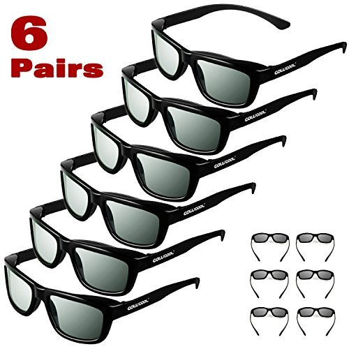 Projector Theater No Lens (Cowcool 6 Pack CINEMA 3D GLASSES For all passive polarized 3D monitors, TVs, projectors - Adult Size Cowcool Passive Circular Polarize Cowcool 3D Glasses)