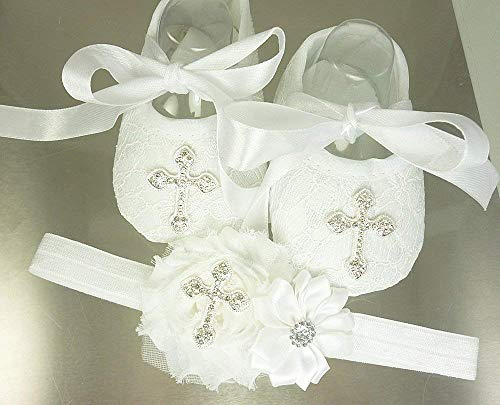 Christening Shoes and Headband Set, White Lace Baptism Footwear with Rhinestone Cross, Soft Crib Wedding Slippers, 1st Birthday, Easter, Photos, Sizes: Newborn-18 mos, Made in the USA