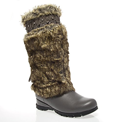 C1038 Closed Toe Low Heel Mid Calf Mukluks Boot Shoes, Gray PU Leather, 7 B (M) US ()