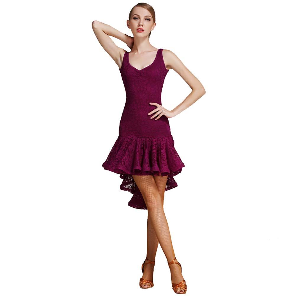 Violet XHTW&B Adulte Femmes Latin Danse Jupe Les Robes Flexible étape Examen De Danse Les Costumes élégant Fête Concurrence Robe XXL