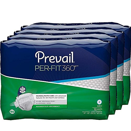 Pull Prevail (Prevail Per-Fit 360 Degree Maximum Plus Absorbency Incontinence Briefs Size 2 72 Count Breathable Rapid Absorption Discreet Comfort Fit Adult Diapers)