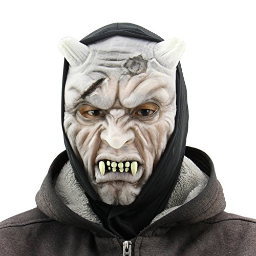 Creepy Demon Masks, Glow-In-The-Dark Latex Mask for Cosplay, Halloween, Masquerade and (Scariest Mask For Halloween)