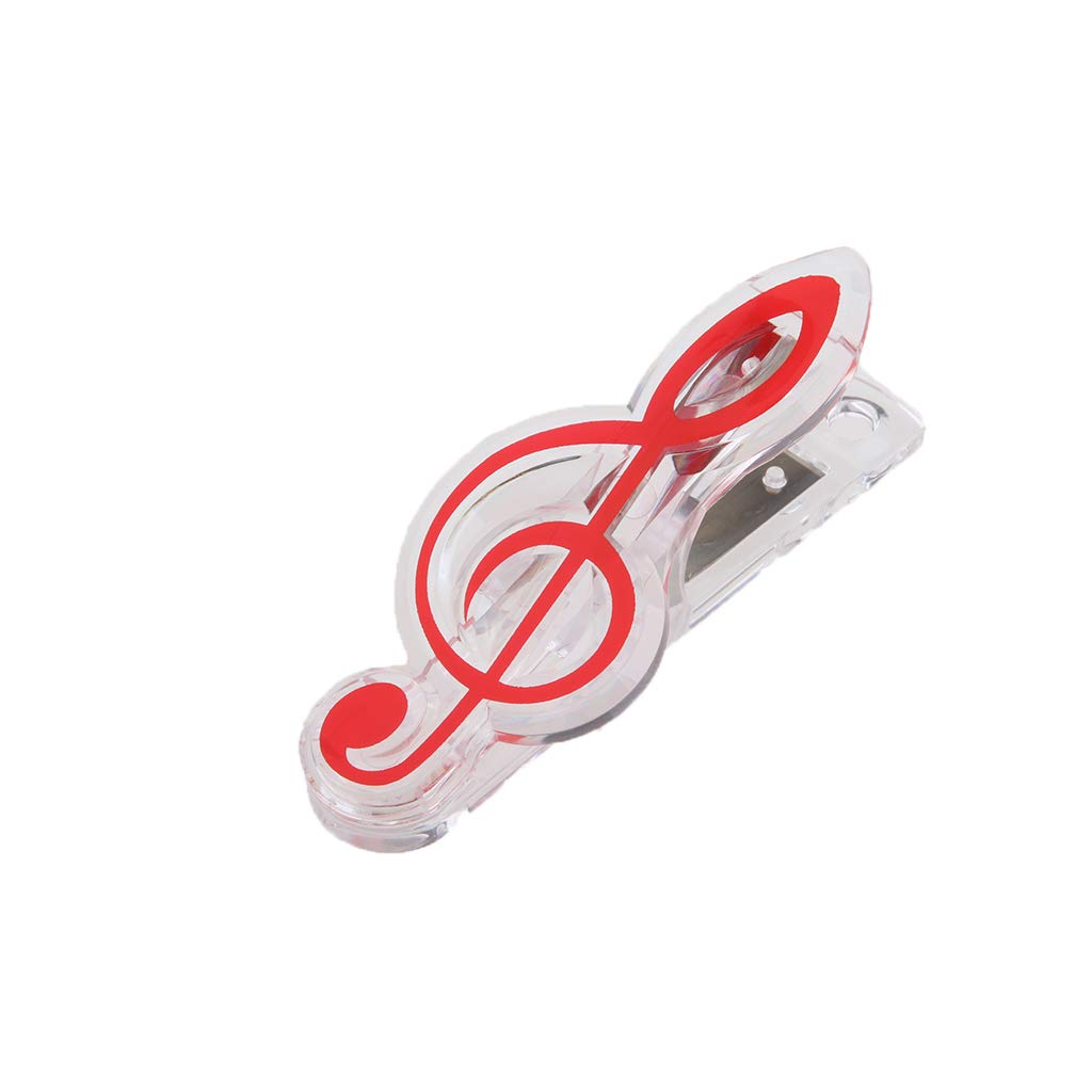 comme d/écrit rouge P Prettyia Clip Motif Note de Musique pour Partitions Mat/ériau ABS Pinces Double Musique Stationnaire 6,8x3cm