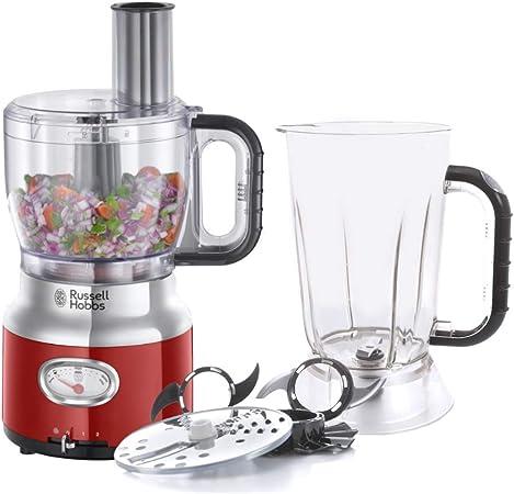 Russell Hobbs Retro 25180-56 - Robot de cocina 850 W, vaso smoothies, recipiente mezclador, disco de corte y de rallado, color rojo: Amazon.es: Hogar
