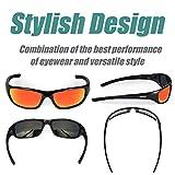 Duduma Tr8116 Polarized Sports Sunglasses for Baseball Cycling Fishing Golf Superlight Frame (Black frame with red mirror lens)