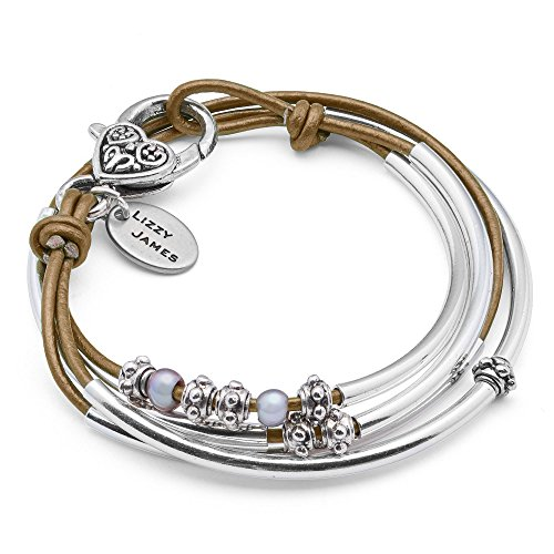 Lizzy James Mini Charmer Metallic Bronze Leather and Silver Plate Wrap Bracelet with Freshwater Pearls (XLARGE)