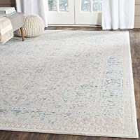 Safavieh Passion Collection PAS405B Oriental Vintage Watercolor Turquoise and Ivory Distressed Area Rug (9 x 12)
