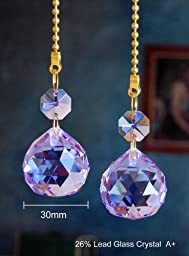2 of Purple Dazzling 26% Lead Crystal Ceiling FAN Pull Chains 30mm