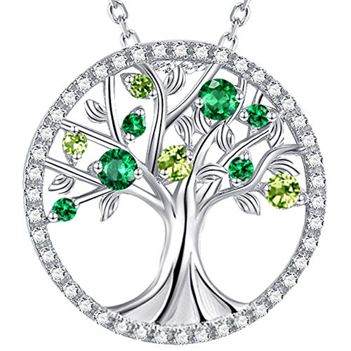Tree of Life Jewelry Sterling Silver created Green Emerald Necklace August Birthstone Peridot Pendant Jewelry for Women Love Family Birthday Gifts Mom Wife Teen Girls Anniversary Gifts for Her