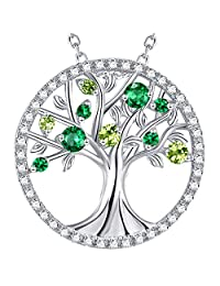 Christmas Jewelry Gift The Tree of Life Emerald & Peridot Pendant Necklace Sterling Silver Birthday Gift for Her