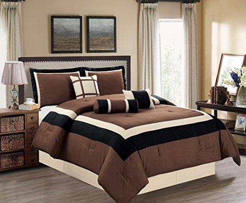 Piece 5 Set Milan (5 Piece TWIN Size BROWN / BLACK / BEIGE Color Block MILAN Goose Down Alternative Comforter set 54